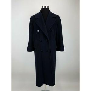 Talbots Pea Coat 6 Blue Long wool Cashmere A79-15